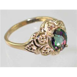 R125, Mystic Fire Topaz Filigree, Gold Ring