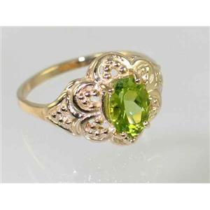 R125, Genuine Peridot Filigree, Gold Ring