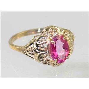 R125, Pure Pink Topaz Filigree, Gold Ring