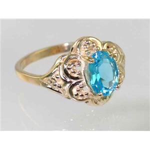 R125, Swiss Blue Topaz Filigree, Gold Ring