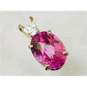 P019, Pure Pink Topaz 14K Gold Pendant