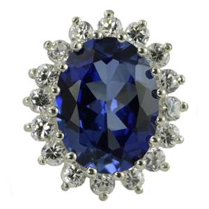 SR310, Lady Di / Kate Created Blue Sapphire Sterling Silver Ring