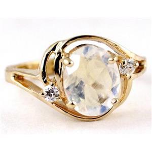 R021, Rainbow Moonstone, Gold Ring