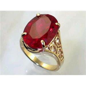 R049, Created Ruby, Gold Ring