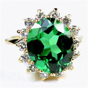 R283, Russian Nanocrystal Emerald, Cluster Gold Ring