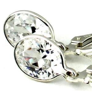 SE001, Cubic Zirconia, Sterling Silver Leverback Earrings