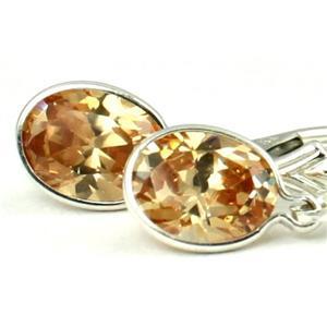 SE001, Champagne CZ, 925 Sterling Silver Earrings