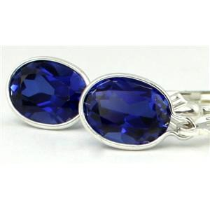 SE001, Created Blue Sapphire, 925 Sterling Silver Earrings