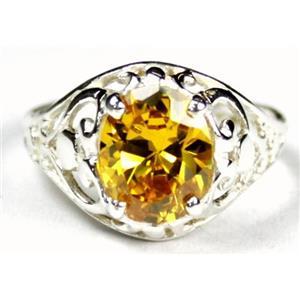 SR004, Golden Yellow CZ, 925 Sterling Silver Ring