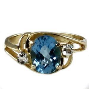 R176, Swiss Blue Topaz, Gold Ring