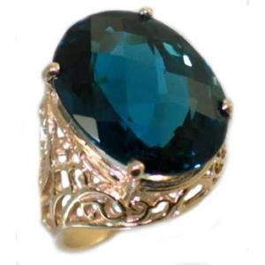 R291, London Blue Topaz, Gold Ring