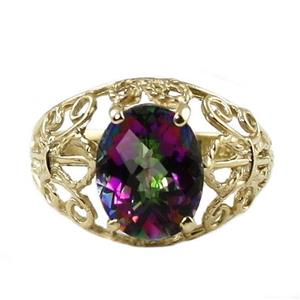 R162, Mystic Fire Topaz, Gold Ring