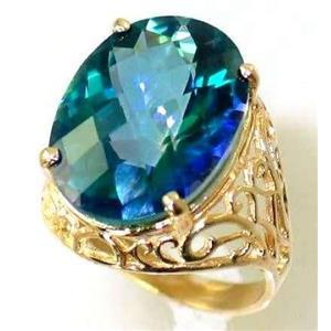 R291, Neptune Garden Topaz, Gold Ring