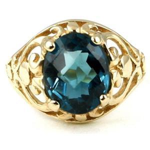 R004, London Blue Topaz, Gold Ring