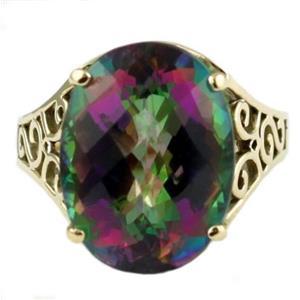 R049, Mystic Fire Topaz, Gold Ring