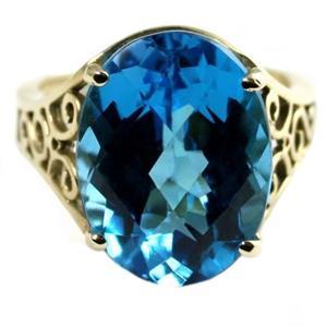 R049, Swiss Blue Topaz, Gold Ring