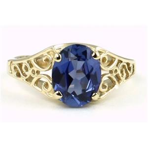 R005, Created Blue Sapphire, Gold Ring
