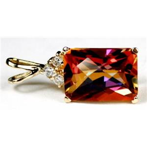 P042, Twilight Fire Topaz 14k Gold Pendant