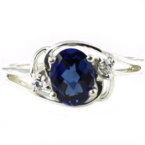 SR176, Created Blue Sapphire, 925 Sterling Silver Ring