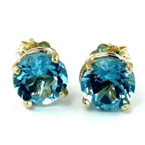 E012, Swiss Blue Topaz, 14K Gold Earrings