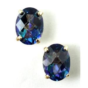 E002, Neptune Garden Topaz, 14k Gold Earrings