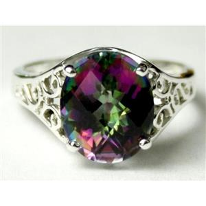 SR057, Mystic Fire Topaz, 925 Sterling Silver Ring