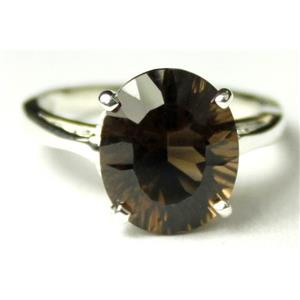 Quantum Smoky Quartz, 925 Sterling Silver Ring, SR055,