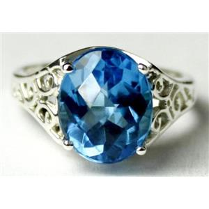 SR057, Swiss Blue Topaz, 925 Sterling Silver Ring
