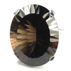 SR129, Smoky Quartz, 925 Sterling Silver Ring