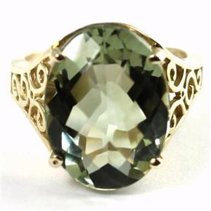 R049, Green Amethyst, Gold Ring