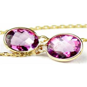 E005, Pure Pink Topaz, 14k Gold Threader Earrings