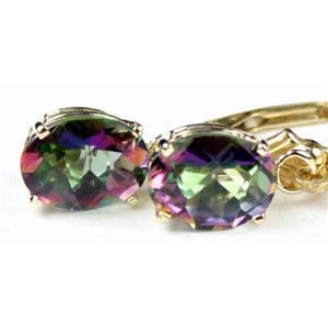 E007, Mystic Fire Topaz, 14k Gold Earrings