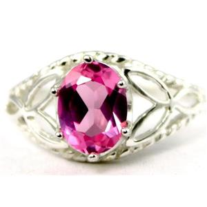 SR137, Created Pink Sapphire, 925 Sterling Silver Ring