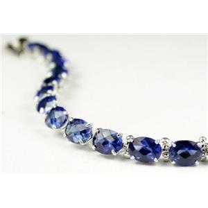SB002, Created Blue Sapphire, 925 Sterling Silver Bracelet