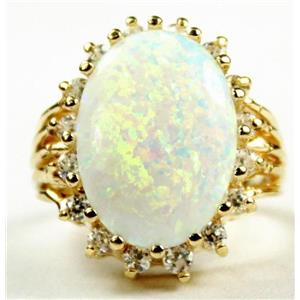 R270, Created White Opal, Gold Ring