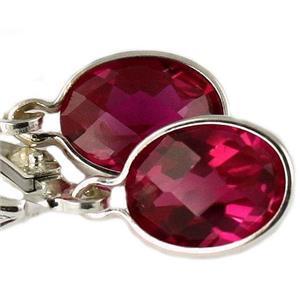 SE001, Created Ruby, 925 Sterling Silver Earrings