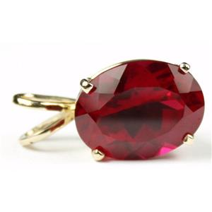 P004, Created Ruby 14K Gold Pendant