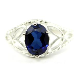 SR137, Created Blue Sapphire, 925 Sterling Silver Ring
