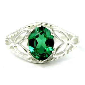 SR137, Russian Nanocrystal Emerald, 925 Sterling Silver Ring
