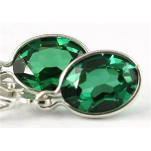 925 Sterling Silver Leverback Earrings, Russian Nanocrystal Emerald, SE001