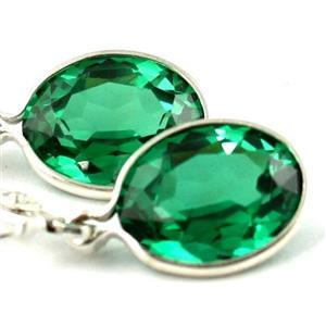 SE101, Russian Nanocrystal Emerald, Sterling Silver Earrings