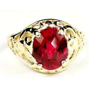 R004, Created Ruby, Gold Ring