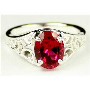 Created Ruby, 925 Sterling Silver Ring, SR005