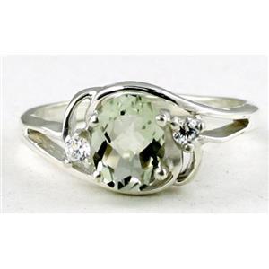 SR176, Green Amethyst, 925 Sterling Silver Ring
