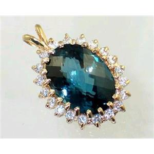 P270, London Blue Topaz 14K Gold Pendant