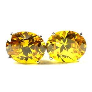 Golden Yellow CZ, 925 Sterling Silver Earrings, SE102