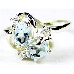 SR016, Aquamarine, 925 Sterling Silver Ring