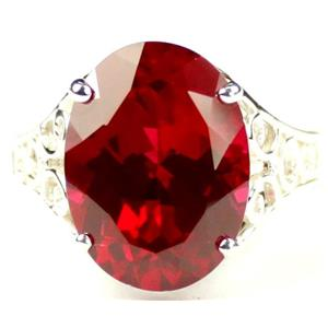 SR049, Created Ruby, 925 Sterling Silver Ring