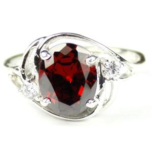 SR021, Garnet CZ, 925 Sterling Silver Ring