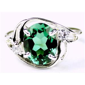 SR021, Russian Nanocrystal Emerald, 925 Sterling Silver Ring